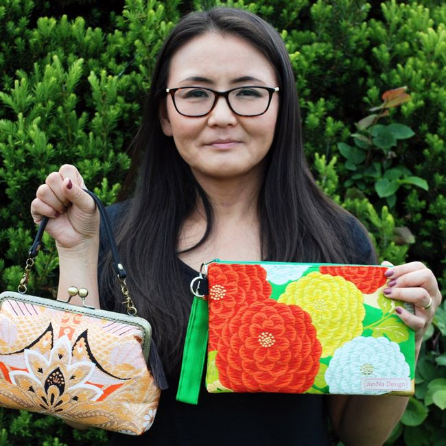 Rie Sporar of Niagara Falls is shown with some of the accessories she makes using material from vintage kimonos.