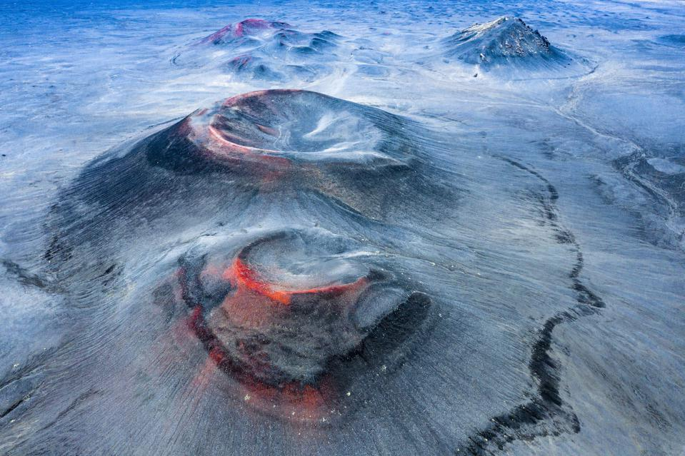 Iceland's extinct volcanoes as captured by a drone.